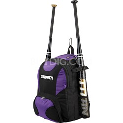 Baseball/Softball Equipment and Bat Backpack Bag, Purple
