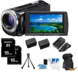 HDR-CX260V HD Camcorder 16GB 30x Optical Zoom with Geotagging BUNDLE (Black)