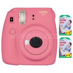 Instax Mini 9 Instant Camera-Flamingo Pink w/ 40 Sheets Of Instant Film