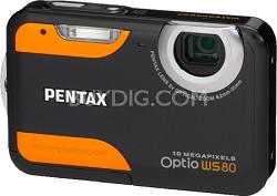 Optio WS80 10MP Waterproof Digital Camera (Black & Orange)