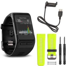 vivoactive HR GPS Smartwatch Regular Fit (Black) Force Yellow Band Deluxe Bundle