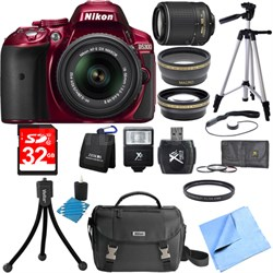 D5300 DX-Format Digital SLR Red with 18-55mm + 55-200mm VR II Lens Bundle