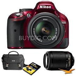 D5200 24.1 MP DSLR Camera Red 18-55mm VR & 55-300 VR Len Holiday Gift Bundle
