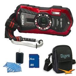 Optio WG-2 Waterproof Digital Camera - Red 4 GB Bundle