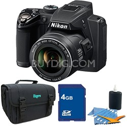 Coolpix P500 12MP Black Digital Camera 4GB Bundle