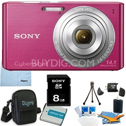 Cyber-shot DSC-W610 Pink 8GB Digital Camera Bundle