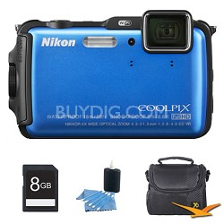 COOLPIX AW120 16MP Waterproof Shockproof Freezeproof Blue Digital Camera Kit