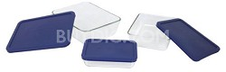 Storage 6-Piece Rectangular Set, Clear with Blue Lids - OPEN BOX