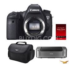 EOS 6D DSLR Camera (Body Only) + Pro100 Printer/Case/Paper