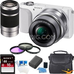 NEX-3NL Digital Camera  w 16-50, 55-210 Lens Essentials Bundle (White)