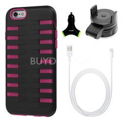 Cobra Apple iPhone 6 Silicone Dual Protective Case - Black/Pink Accessory Bundle