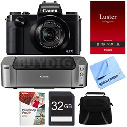PowerShot G5 X Digital Camera w/4.2x Optical Zoom - PIXMA PRO-100 Printer Bundle