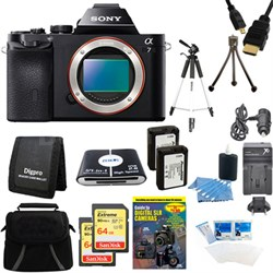 Alpha 7 a7 Digital Camera and 2 64GB SDXC Cards and 2 Batteries Bundle