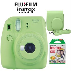 Instax Mini 9 Instant Camera Lime Green Bundle w/ Green Case & Twin Pack Film