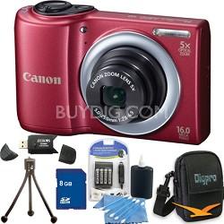 PowerShot A810 16MP Red Digital Camera 8GB Bundle