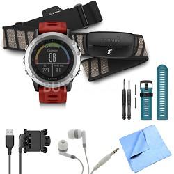fenix 3 Multisport Training GPS Watch with Heart Rate Monitor Blue Band Bundle