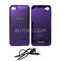 iPhone 4/4S Rubberized Protective 1900mAh Battery Case - Purple