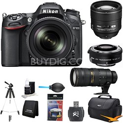 D7100 DX-Format Digital HD-SLR w/ 18-105mm, 85mm, 70-200mm, TC-14E II Bundle