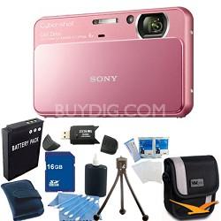 Cyber-shot DSC-T110 Pink Touchscreen Digital Camera 16GB Bundle