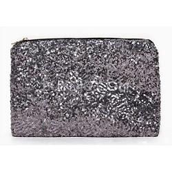 Sequin Popper Handbag Clutch - Charcoal Silver