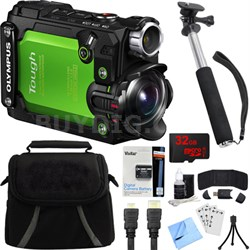Stylus TG-Tracker Waterproof Shockproof 4K Action Cam Green Accessory Bundle
