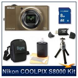 COOLPIX S8000 14.2 Megapixel Digital Camera (Bronze) Kit w/ 8GB Card