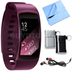 SM-R3600ZIAXAR Gear Fit2 Smartwatch with Large Band - Pink Bundle