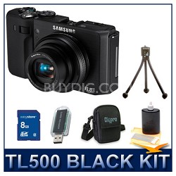 TL500 Digital Camera Black Kit w/ Memory Card, Card Reader, Case, Mini Tripod