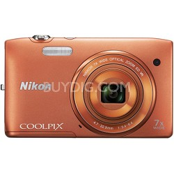 COOLPIX S3500 20.1MP Digital Camera with 720p HD Video (Orange) Refurbished