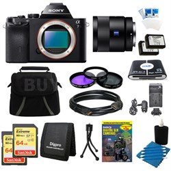 Alpha 7 a7 Digital Camera, 55mm Lens, 2 64 GB SDHC Cards, 2 Batteries Bundle