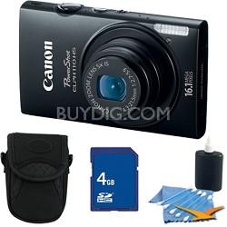 PowerShot ELPH 110 HS 16.1MP Black Digital Camera 5x Zoom HD Video 4 GB Bundle