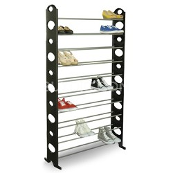 10 Level 50 Pair All-in-One Shoe Rack (Easy to Assemble) in Black