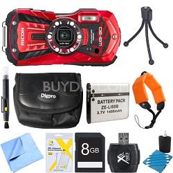WG-30 16 MP Waterproof Digital Camera with 3-Inch LCD Vermillion Red 8GB Bundle