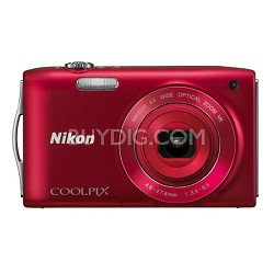 COOLPIX S3300 16MP 6x Opt Zoom 2.7 LCD - Red