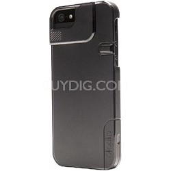 Quick Flip Case for iPhone 5 & 5/S + Pro Photo Adapter - Translucent Black