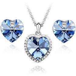 18k Gold Plated Elements Crystal Heart Shape Jewelry Set (Blue)