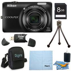 COOLPIX S6300 16MP 10x Opt Zoom 2.7 LCD Digital Camera Black Bundle