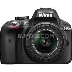 D3300 DSLR 24.2 MP HD 1080p Camera with 18-55mm Lens - Black