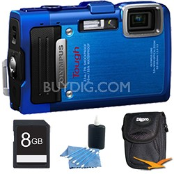 TG-830 iHS STYLUS Tough 16 MP 1080p HD Digital Camera Blue 8GB Kit