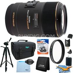 105mm F2.8 EX DG OS HSM Macro Lens for Sony DSLRs (258-205) Lens Kit Bundle