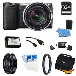 NEX-5RK/B Compact Camera with 18-55 Lens 32GB 20mm f 2.8 Ultimate Bundle