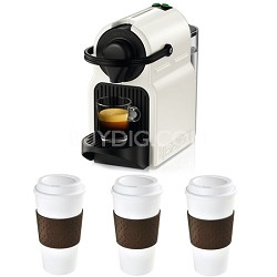 Inissia Espresso Maker (White) Reusable To Go Mug 3-Pack (Brown) Bundle