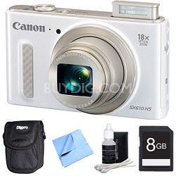 "PowerShot SX610 HS 20.2 MP Digital Camera 18x Zoom 3"" LCD - White 8GB Bundle"