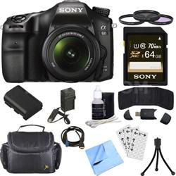 ILCA68K/B a68 A-Mount 24.2MP Digital Camera w/ 18-55mm Zoom Lens 64GB Bundle