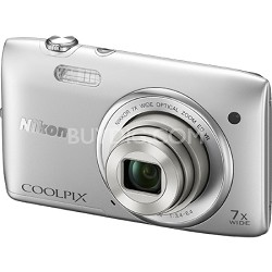 """COOLPIX S3500 20.1MP 2.7"""" LCD Silver Digital Camera (Certified Refurbished)"""