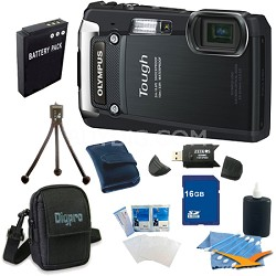 16GB Kit Tough TG-820 iHS 12MP Water/Shock/Freezeproof Digital Camera - Black
