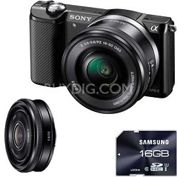 Alpha a5000 20.1 MP Mirrorless Digital Camera with 16-50mm & SEL20mm f2.8 Lenses