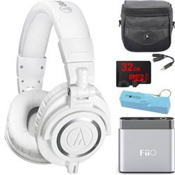 ATH-M50X Professional Studio Headphones (White) Portable Headphone Amp Bundle