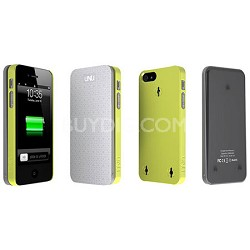 Ecopak iPhone 5 Case -Snap-on Case and Detachable Battery (Silver/Leaf Yellow)