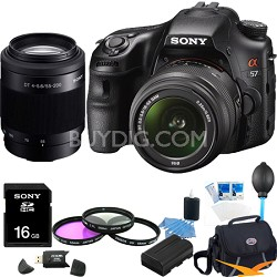 Alpha SLT-A57K 16.1 MP Digital SLR Kit w/ 18-55mm , 55-200 Ultimate Bundle